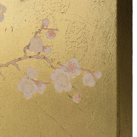 《送料無料》アンティーク調 プラム×ゴールド アートパネル 2枚セット 長方形