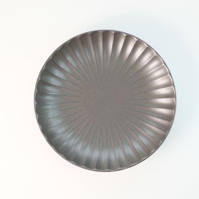 菊型 丸皿 16.5cm 黒