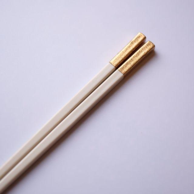 和洋中先丸箸 25cm 白/金