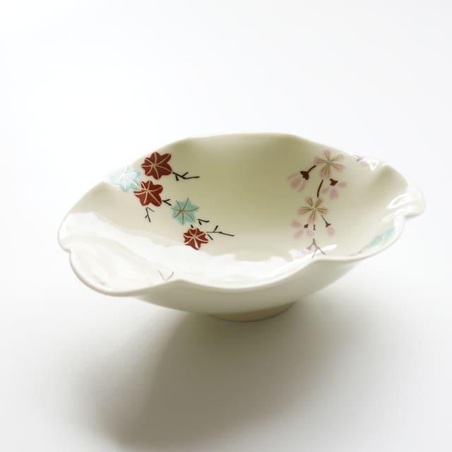波佐見焼 錦春秋 菊型楕円皿