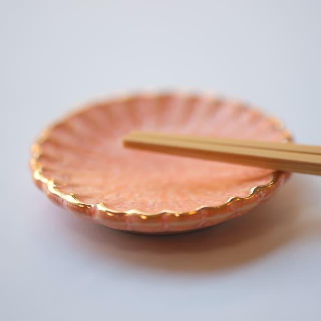 有田焼 ピンク渕金 菊豆豆皿