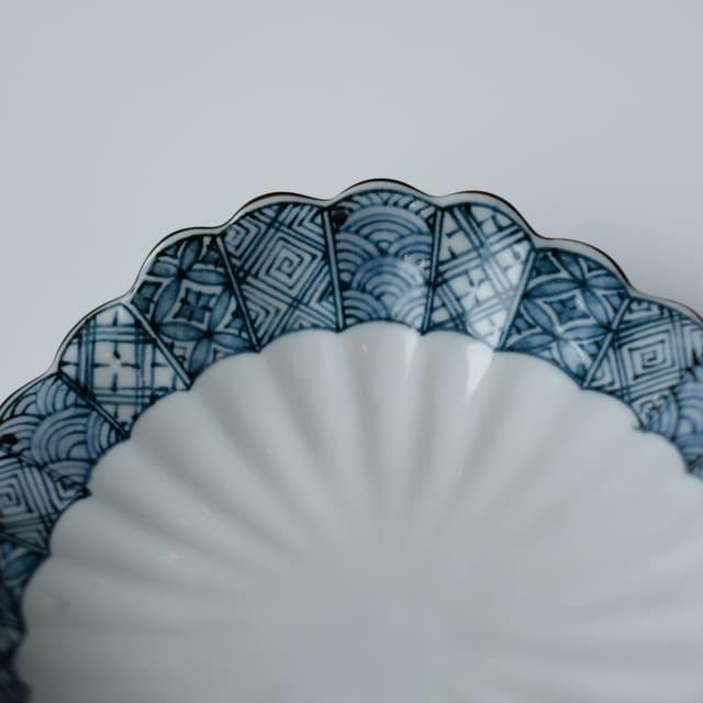 菊型祥瑞 三ツ山刺身皿