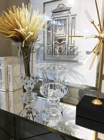 クリアガラス エレガントフラワーベース ミニショートサイズ