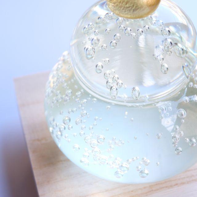 日本製 手作りガラス 金鏡餅 福重ね (箱入) 【次回12月出荷ご予約分】