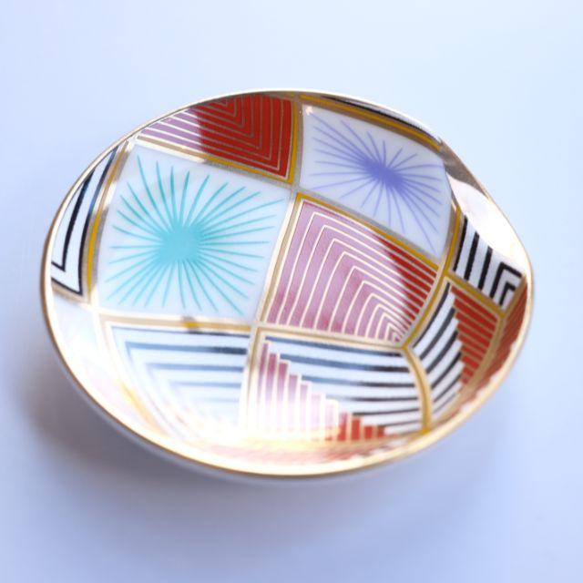 日本製金彩 色絵手毬  小皿5点揃