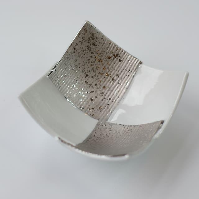 白プラチナ 市松 小鉢