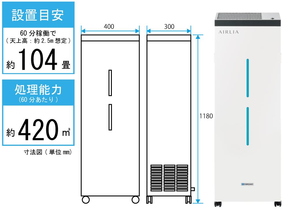 【受注生産】岩崎電気 空気循環式紫外線清浄機<br>AIRLIA+(エアーリア プラス) FMST15202EH1<br>