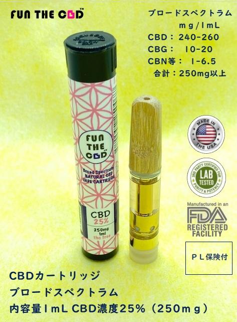 CBD25%(250mg)カートリッジ1mlブロードスペクトラム