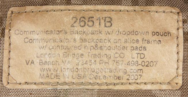 12111603 ★★★RARE!! SEAL放出品 LBT社製 AOR1 P/N:2651B コミュニケーターバックパック *単色PALS製造ロット