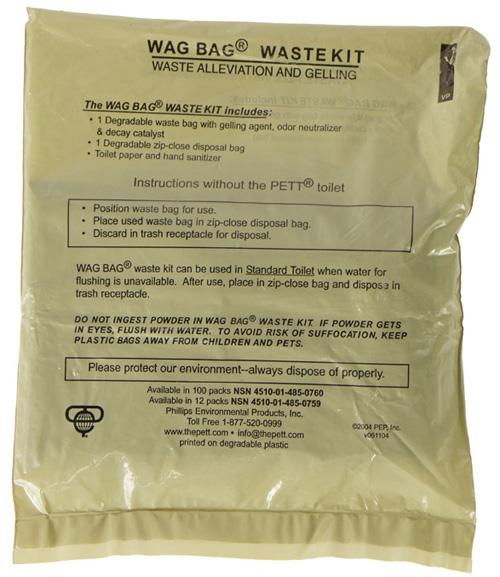 16112433 米軍放出品 PHILLIPS製 WAG BAG WASTE KIT 野戦簡易トイレキット