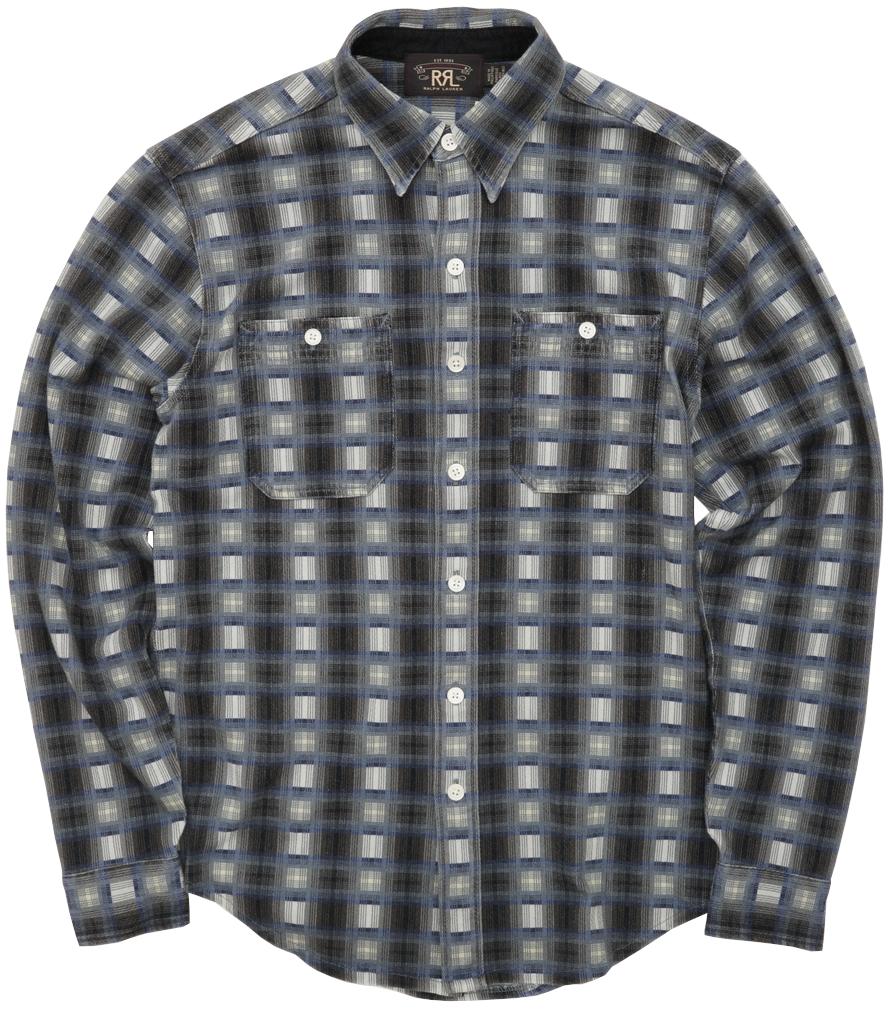 (ダブルアールエル) RRL オンブレ チェック ワーク シャツ コットンジャージー ブラック x ネイビー x グレー メンズ