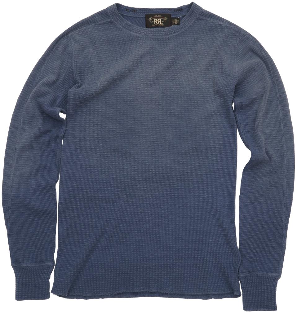 (ダブルアールエル) RRL ワッフルニット コットン Tシャツ サーマル フェイデド ネイビー メンズ Crewneck Tshirt