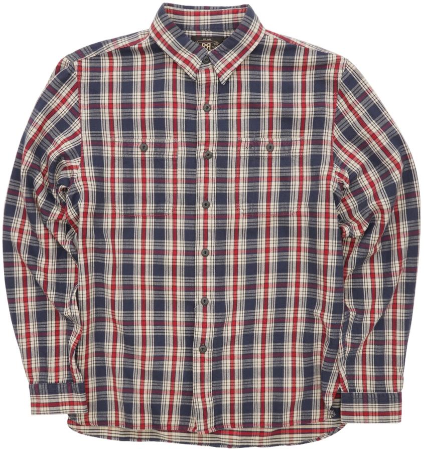 (ダブルアールエル) RRL プラッド コットン ワークシャツ ネイビー x レッド メンズ Plaid Cotton Workshirt Navy