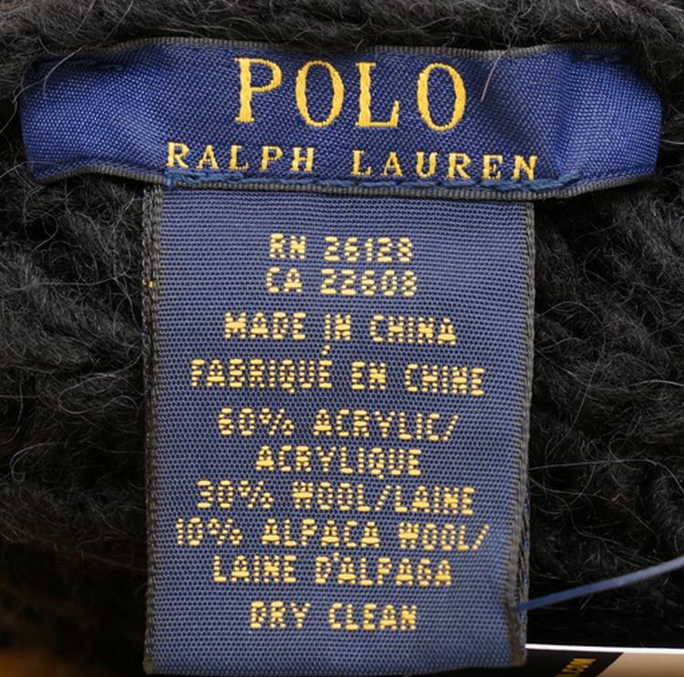 (ラルフローレン) Ralph Lauren アルパカ x ウール アラン編み ニットキャップ ブラック Aran-Knit Hat Black