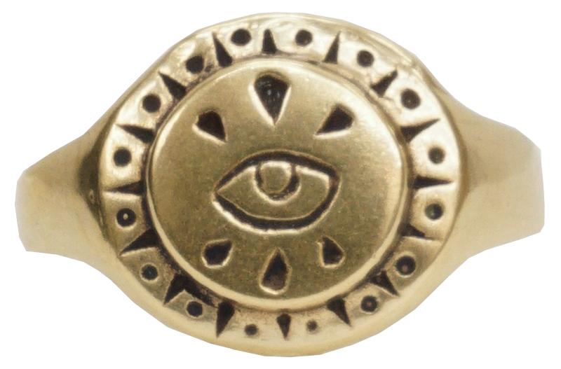 LHN Jewelry(エルエイチエヌ ジュエリー) アメリカ製 ハンドメイド Small All Seeing Eye リング 真鍮 メンズ レディース ユニセックス Brass Ring