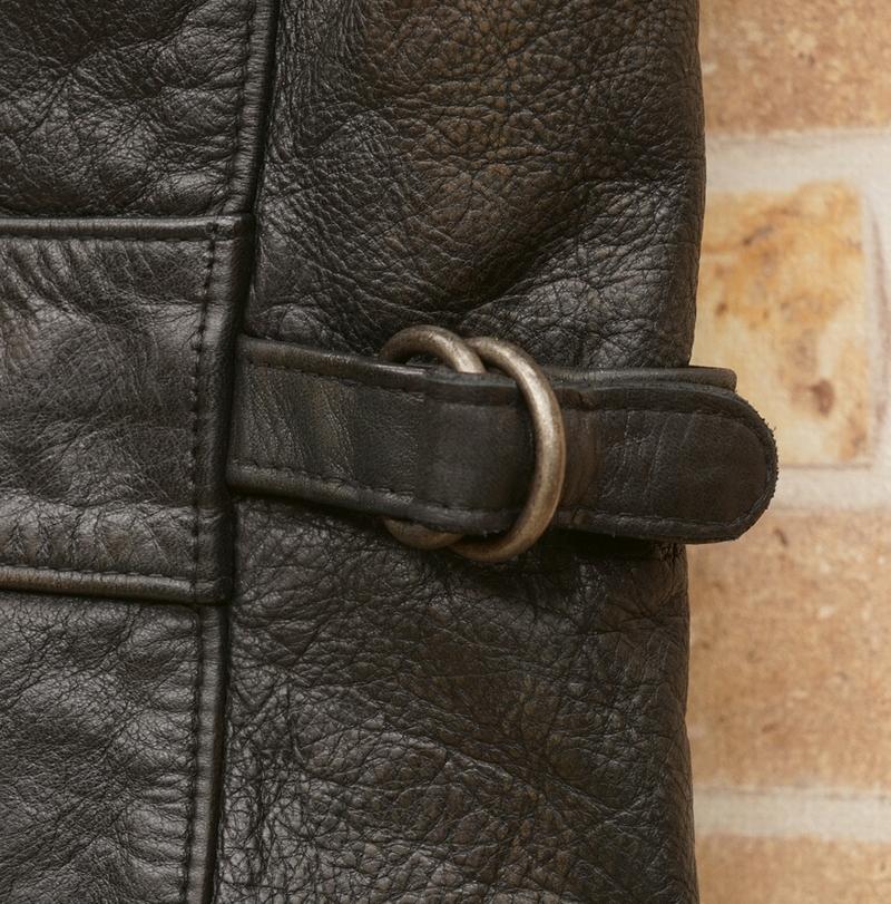 (ダブルアールエル) RRL スリムフィット レザー ジャケット ブラック メンズ Slim Fit Leather Jacket