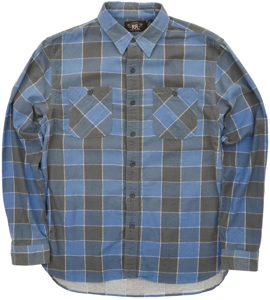 (ダブルアールエル) RRL プラッド コットン Farrel ワークシャツ ブルー x チャコール メンズ Plaid Cotton Workshirt Blue Grey