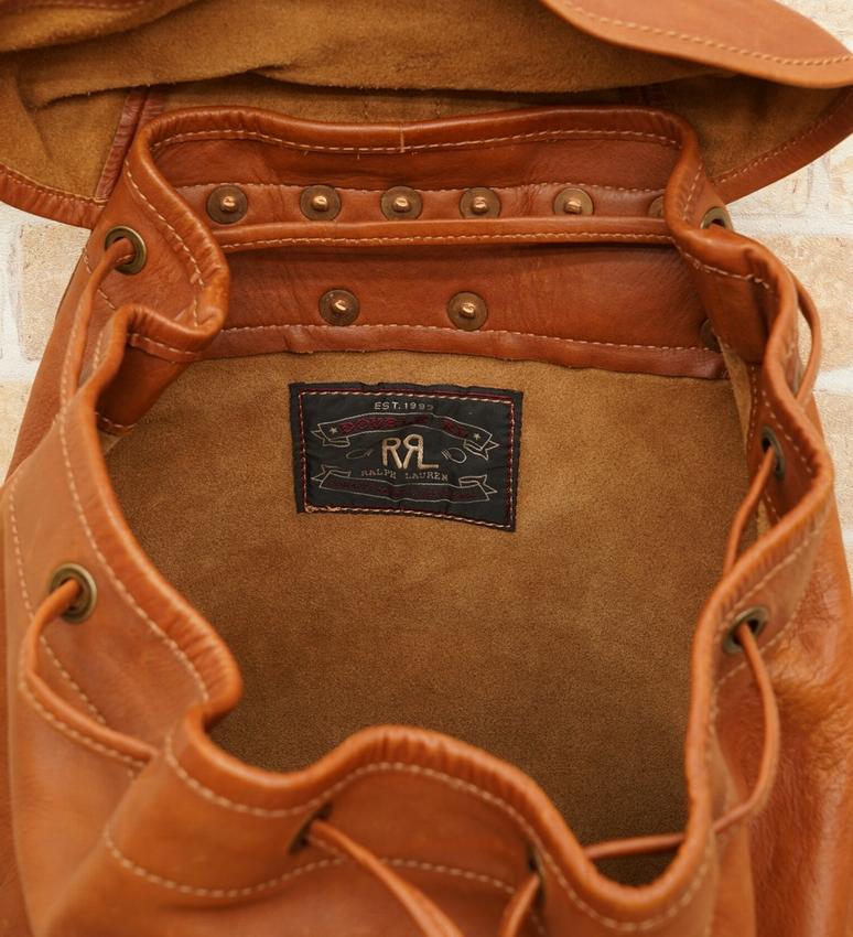 (ダブルアールエル) RRL Riley レザー リュックサック タン Leather Rucksack Tan