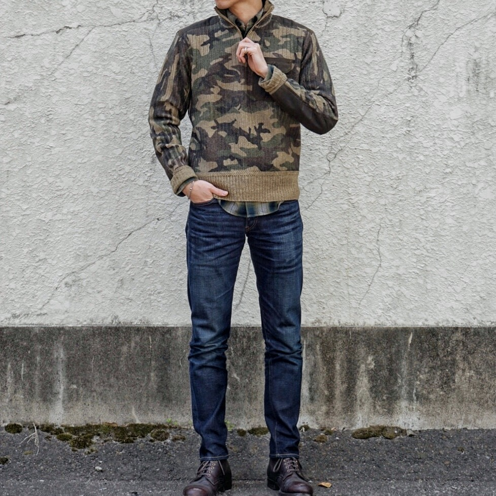 (ダブルアールエル) RRL キャモ ウール カシミア セーター メンズ