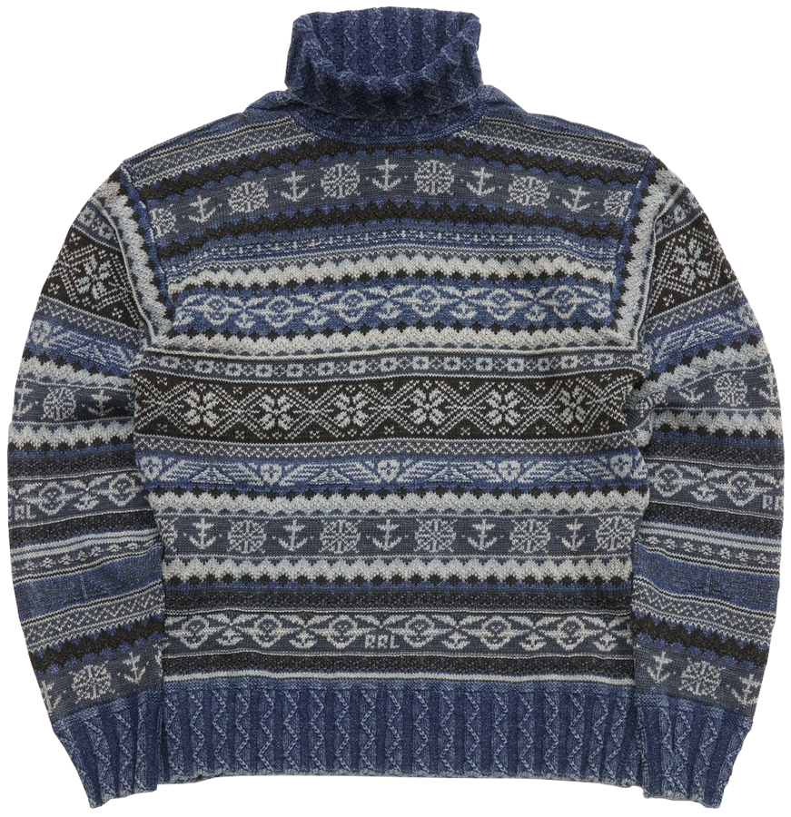 RRL フェアアイル インディゴ モックネック セーター ニット 本藍染め メンズ