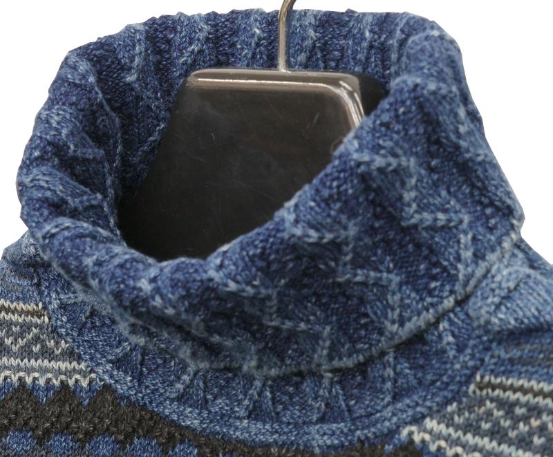 (ダブルアールエル) RRL フェアアイル インディゴ モックネック セーター ニット 本藍染め メンズ Indigo Fair Isle Mock Neck Sweater