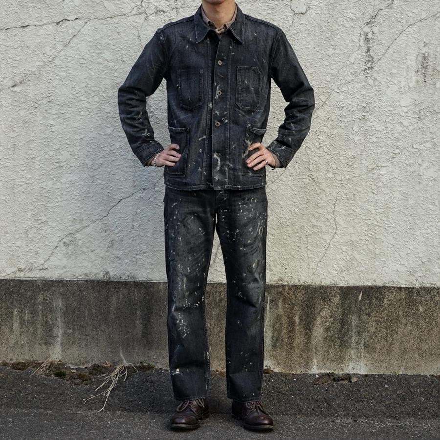 (ダブルアールエル) RRL リミテッドエディション 200本 限定 日本製デニム ペイント ワークパンツ カーペンター ブラック