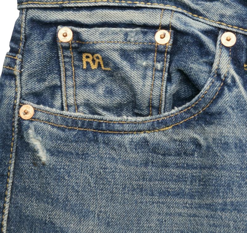 (ダブルアールエル) RRL Eastover リペア 加工 セルビッジ ジーンズ 日本製デニム 使用 ストレート メンズ Vintage Jean