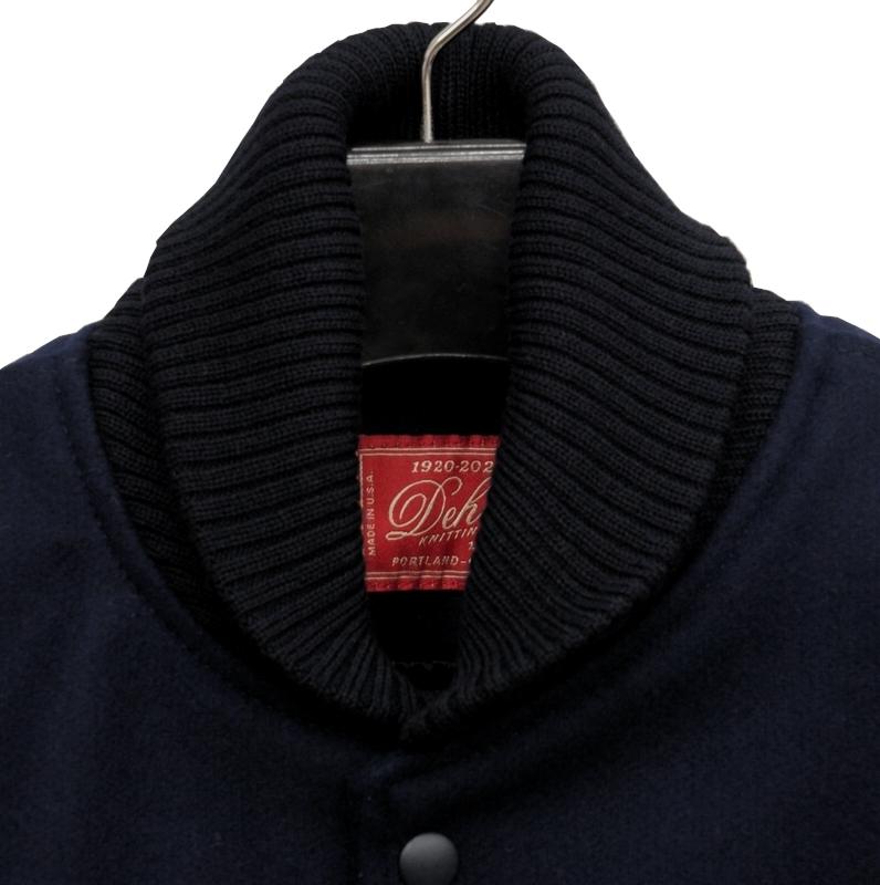 Dehen 1920(デーヘン) バーシティ ジャケット レザー スリーブ スタジャン ペンドルトン ウール地使用 メンズ ダークネイビー x ブラウン アメリカ製