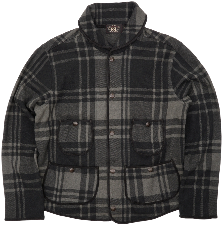 (ダブルアールエル) RRL プラッド ニット ジャカード ジャケット グレー x ブラック メンズ Plaid Knit Jacket