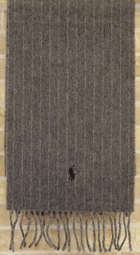 (ラルフローレン) Ralph Lauren ピンストライプ ド ダブルフェイス ド スカーフ イタリア製 マフラー ヘザー pinstriped double-faced scarf