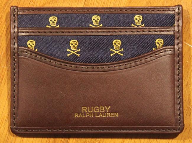 RUGBY / ラルフローレン ラグビー スカル刺繍 カードケース レザー