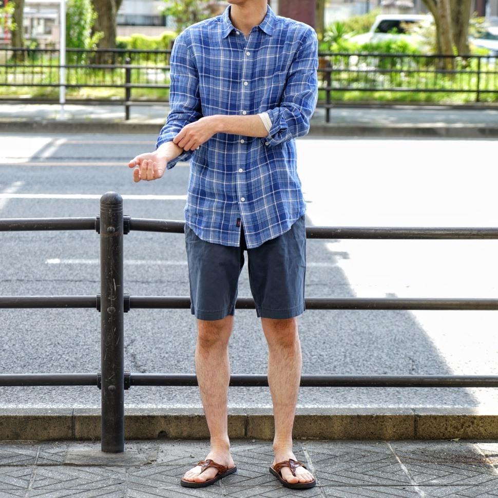 FAHERTY BRAND (ファリティ ブランド) リネン チェック シャツ ブルー 麻 メンズ
