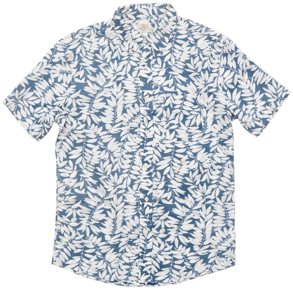 FAHERTY BRAND (ファリティ ブランド) Playa ボタニカルプリント 半袖 シャツ フェイデド ブルー メンズ Faded Blue Botanical