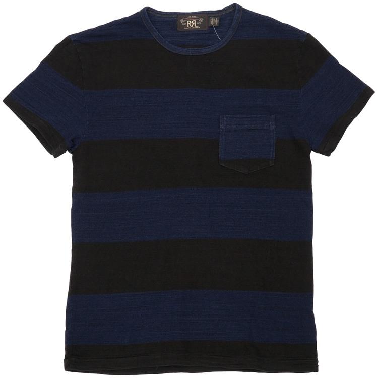 (ダブルアールエル) RRL 本藍染め インディゴ ボーダー Tシャツ ブラック 胸ポケット メンズ Indigo Stripe T Shirt