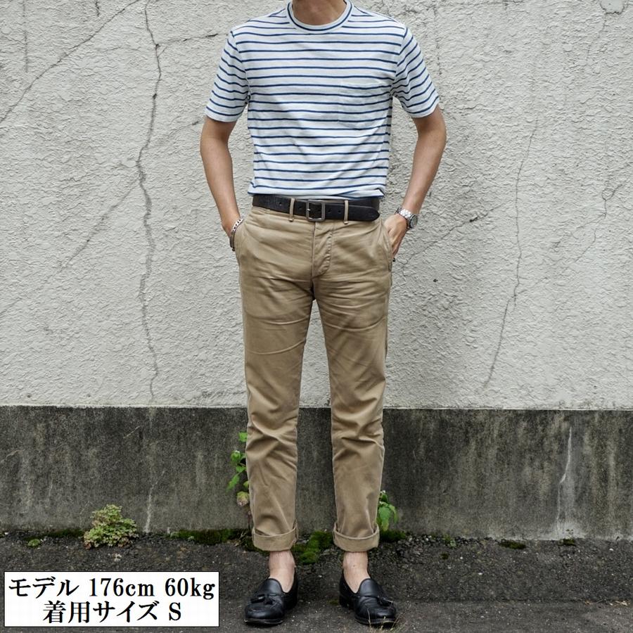 FAHERTY BRAND (ファリティ ブランド) 本藍染め ボーダー ポケット Tシャツ ホワイト メンズ Breton Stripe Tee