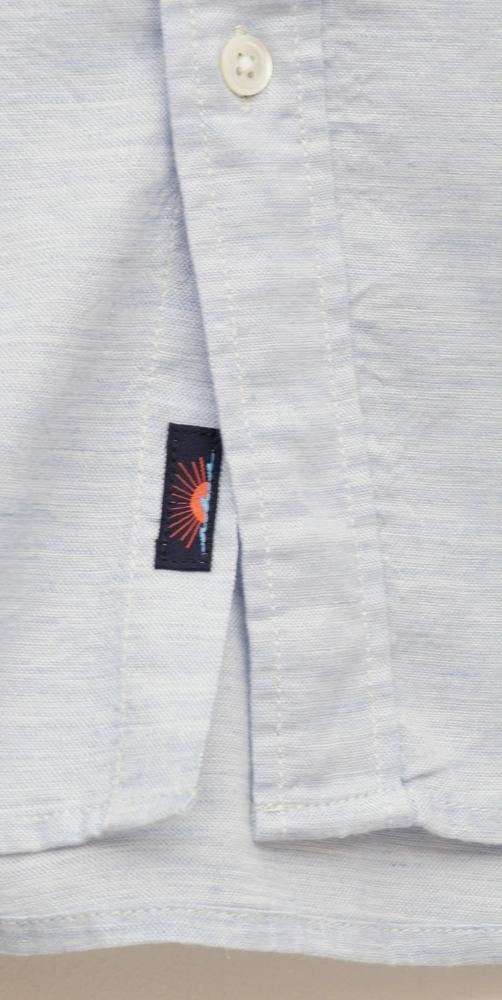 FAHERTY BRAND (ファリティ ブランド) コットン x テンセル オックスフォード ボタンダウン シャツ 霜降り ウォッシュド ブルー メンズ