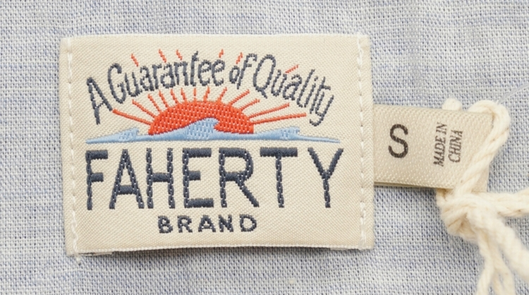 FAHERTY BRAND (ファリティ ブランド) インディゴ ボーダー 長袖 ポロシャツ 霜降り ブルー メンズ