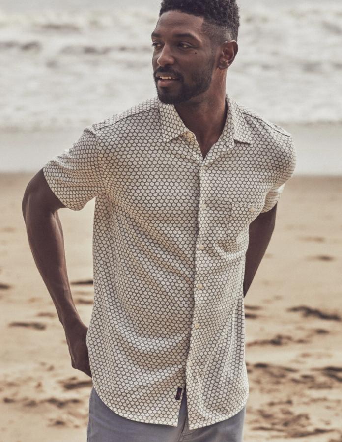 FAHERTY BRAND (ファリティ ブランド) ガーメントダイ フィッシュスケール 半袖 ニットシャツ ホワイト メンズ White Fish Scale Short-Sleeve Coast Shirt