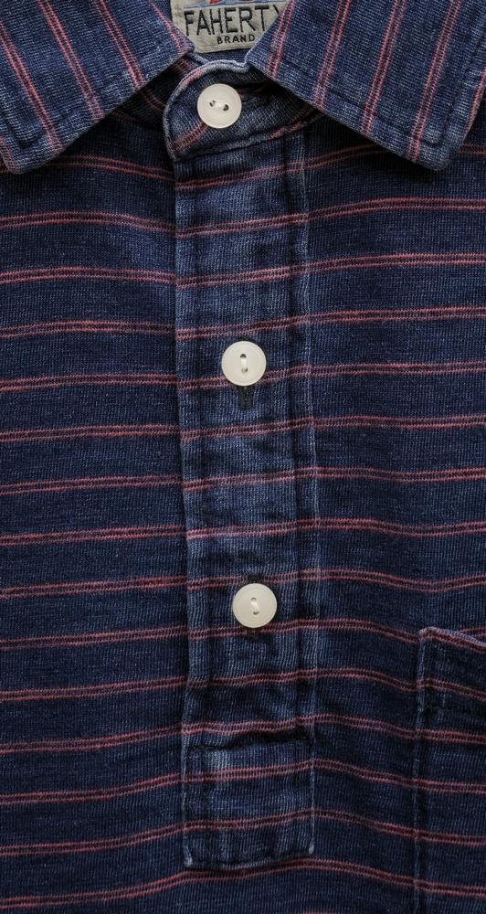 FAHERTY BRAND (ファリティ ブランド) 本藍染め インディゴ ポロシャツ ダークウォッシュ レッドボーダー メンズ Indigo Polo