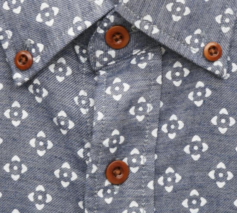FAHERTY BRAND (ファリティ ブランド) Atlas プリント 半袖 シャツ ネイビー インディゴ メンズ