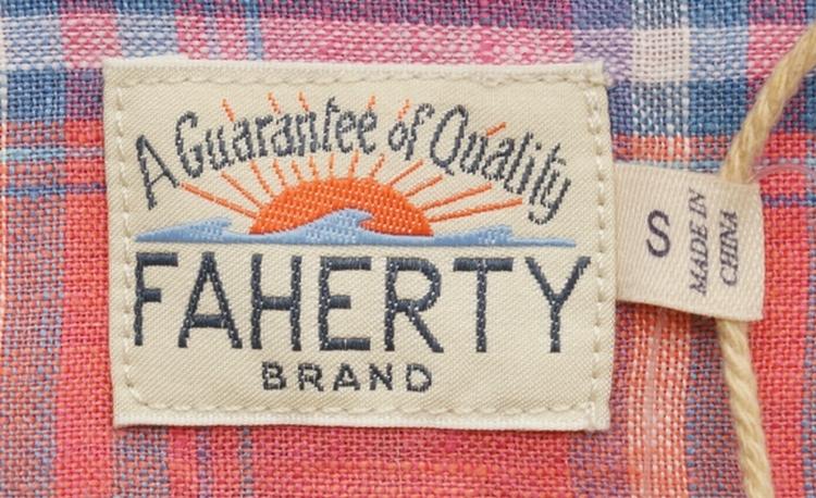 FAHERTY BRAND (ファリティ ブランド) リネン チェック シャツ コーラル サンゴ 麻 メンズ