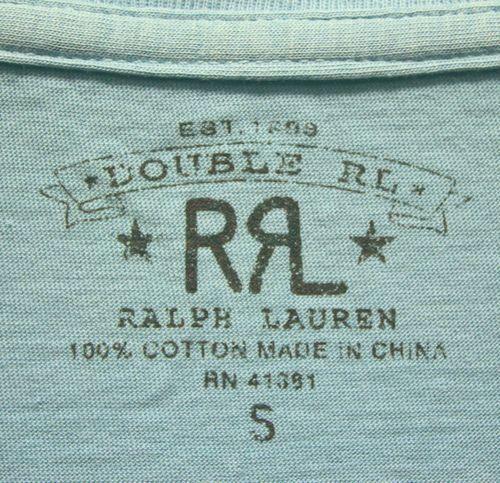 RRL(ダブルアールエル) ヴィンテージ加工 クルーネック Tシャツ ライトブルー 無地