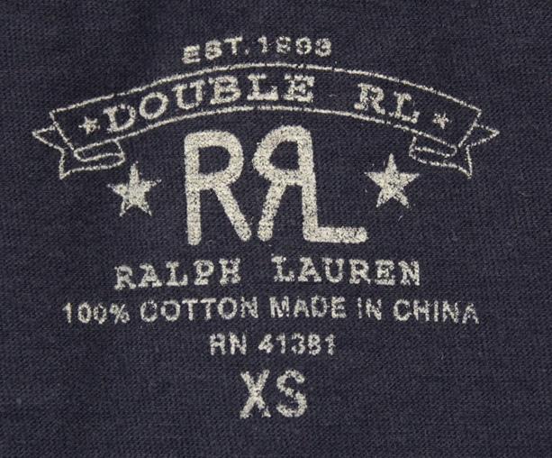 RRL / ダブルアールエル Vネック Tシャツ ネイビー 無地