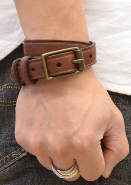 (ラルフローレン) Ralph Lauren バックル レザー ブレスレット エンブレム 型押し ブラウン Leather Wrist Strap