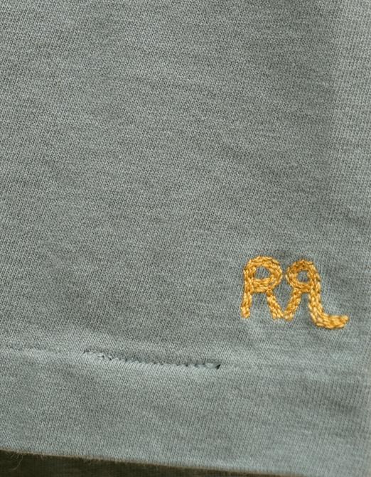 (ダブルアールエル) RRL クルーネック ポケット 裾ロゴ 刺繍 Tシャツ フロンティアブルー Crewneck Pocket