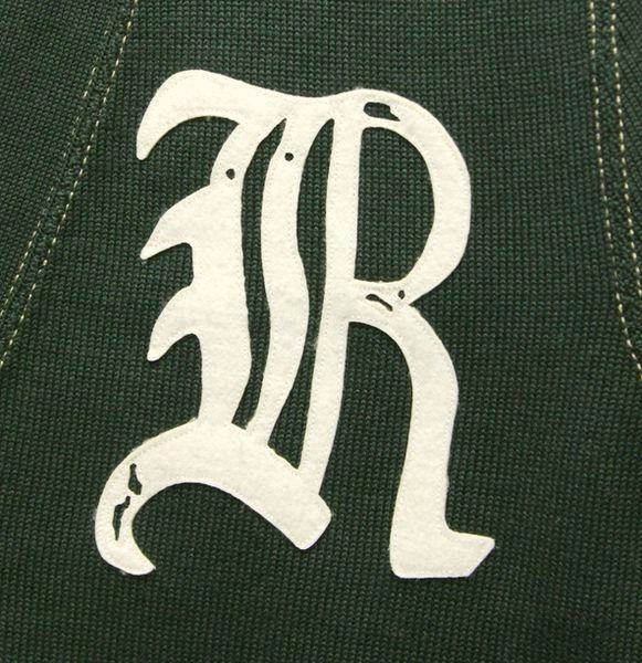 RUGBY (ラルフローレン ラグビー) ヴィンテージ加工 Rワッペン コットン カーディガン グリーン