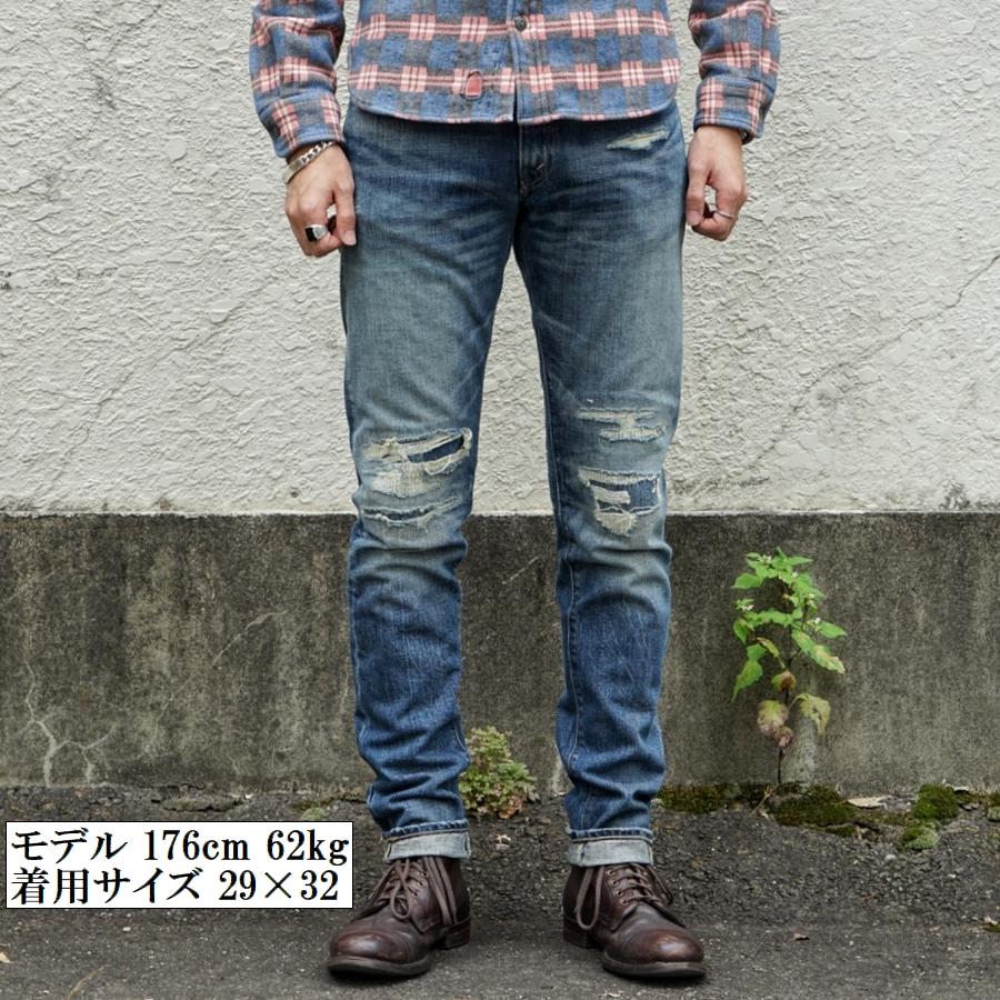 (ダブルアールエル) RRL 米国製デニム使用 リペア加工 スリムナロー ジーンズ メンズ Slim Narrow Zip Fly Jean