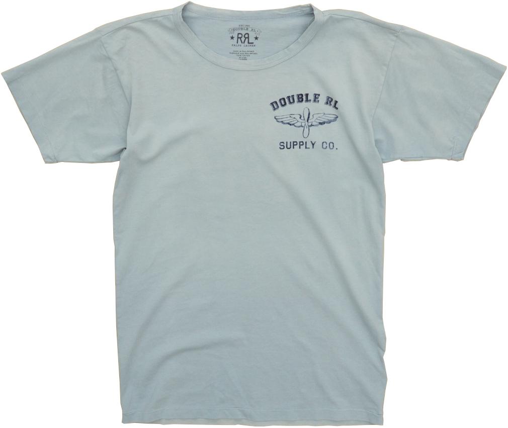 (ダブルアールエル) RRL コットン グラフィック バックプリント Tシャツ ライトブルー メンズ Cotton Jersey Graphic Tshirt Blue