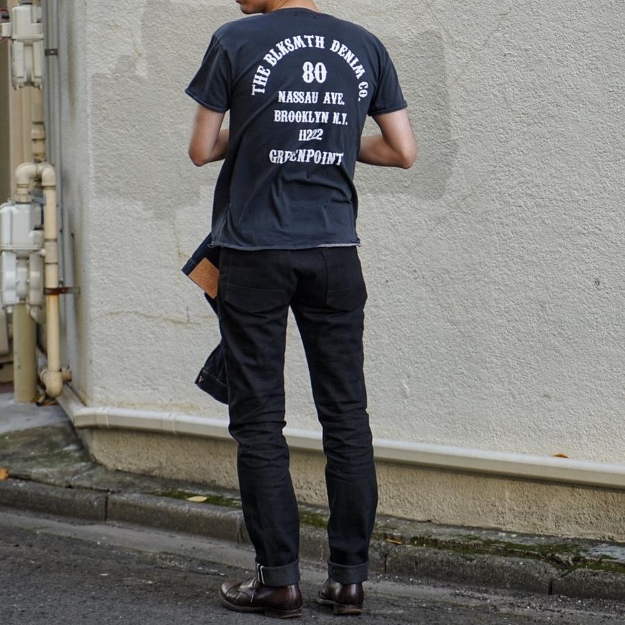 BLKSMTH (ブラックスミス) アメリカ製 バックプリント ブルックリン Tシャツ ウォッシュド ブラック メンズ Black