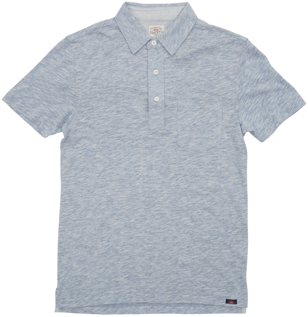 FAHERTY BRAND (ファリティ ブランド) 半袖 ポロシャツ 霜降りライトブルー メンズ Short Sleeve Heather Polo Faded Denim
